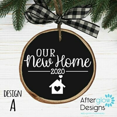 """OUR NEW HOME"" PERSONALIZED WOOD ORNAMENT DESIGN A"