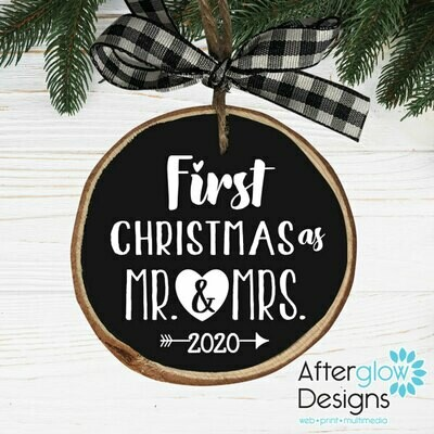 """First Christmas as Mr. And Mrs."" PERSONALIZED WOOD ORNAMENTS"
