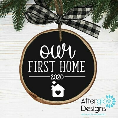 """Our First Home 2020"" Wood Ornament"