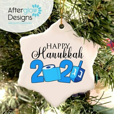 """Happy Hanukkah 2020"" Snowflake Ornament"