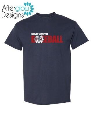 SYB Weathered Baseball Design on Navy 50/50 Tshirt