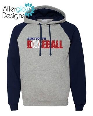 SYB Weathered Baseball Design on Colorblock Raglan Hooded Sweatshirt