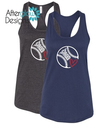 SYB Sketched Heart on Triblend Navy or Charcoal Grey Tank