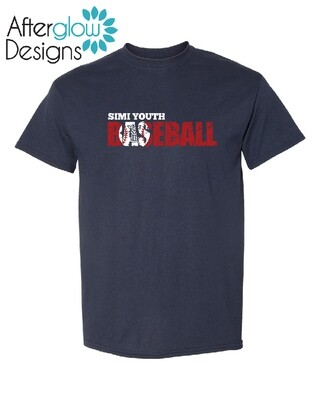 SYB Weathered Baseball Design on Navy Drifit Tee