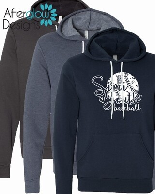 SYB Cursive Ball on Navy, Heather Navy or Charcoal Bella + Canvas Hoodie