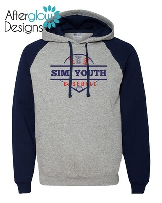 SYB Diamond Design on Colorblock Raglan Hooded Sweatshirt