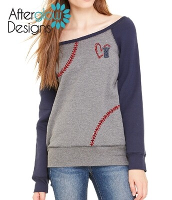 SYB Scribble Heart Navy and Glitter Red imprint on Gray/Navy Fleece Wide Neck Sweatshirt