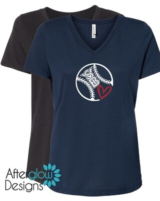 SYB Scribble Heart on Navy or Heather Black Relaxed Vneck