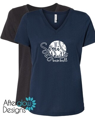 SYB Cursive Ball on Navy or Heather Black Relaxed Vneck