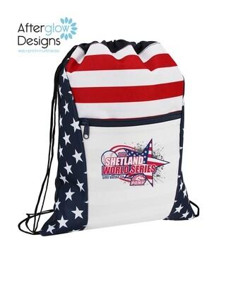 2021 SHETLAND WORLD SERIES LOGO on Americana Drawstring Bag