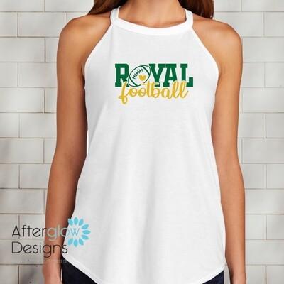 Royal Heart Design on White Perfect Tri-Rocker Tank