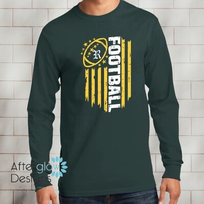 Flag Design on Dark Green Long Sleeve TShirt