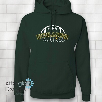 Football Heart Design on Dark Green 50/50 Hoodie