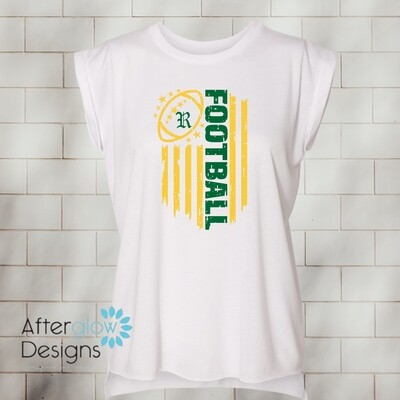 Flag Design on Ladies' Flowy Muscle T-Shirt with Rolled Cuff