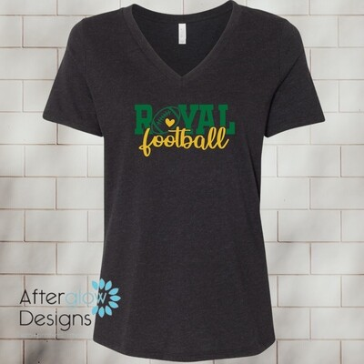 Royal Heart on Heather Black Relaxed V-Neck Tee