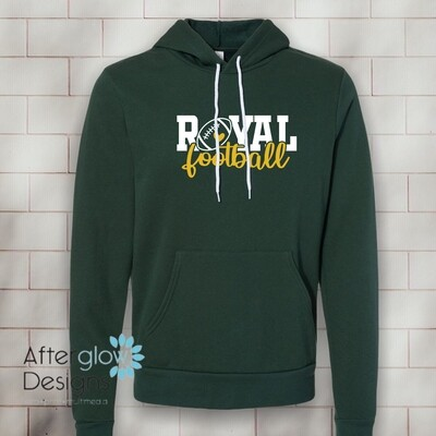 Royal Heart on Bella + Canvas Super Soft Hoodie in Green