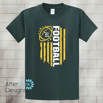 Flag Design on Dark Green Basic Tshirt