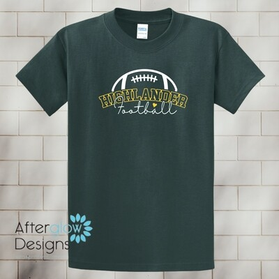 Football Heart Design on Dark Green Basic Tshirt