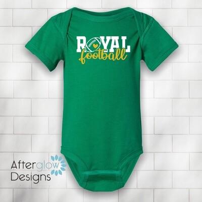 Royal Heart Design on Green Onesie