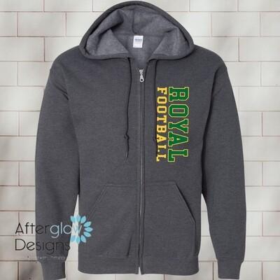 Vertical Design on Dark Gray 50/50 Full-Zip Hoodie