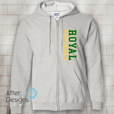 Vertical Design on Ash Gray 50/50 Full-Zip Hoodie
