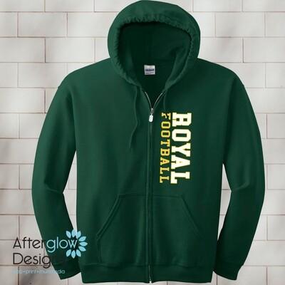 Vertical Design on Dark Green 50/50 Full-Zip Hoodie