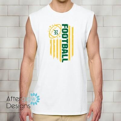 Flag Design on White Sleeveless Tshirt