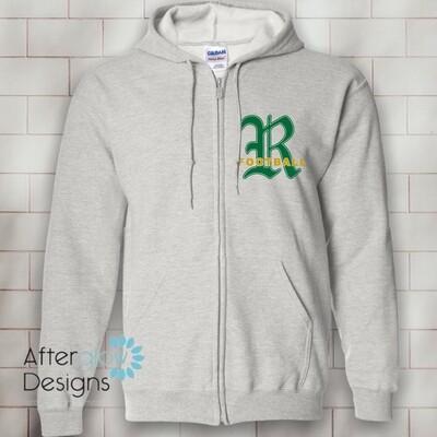 R Design on Ash Gray 50/50 Full-Zip Hoodie