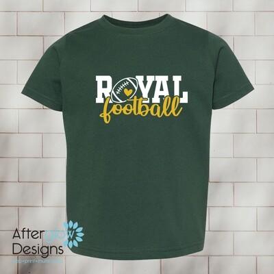 Royal Heart Design on Dark Green Toddler Tshirt