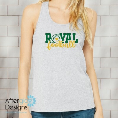 Royal Heart Design on Gray Racerback Tank