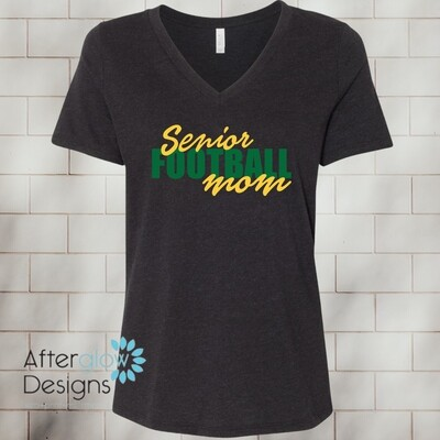 Senior Football Mom Design on Dark Green Basic Tshirt