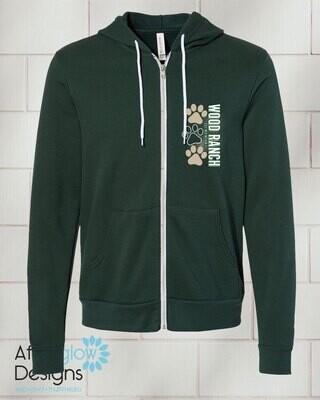Paw Design on Zip-up Dark Green Bella + Canvas Hoodie