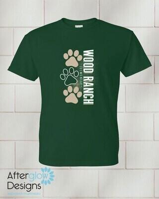Paw Design on Youth Dark Green 50/50 Tshirt