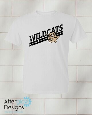 Wildcats Design on Youth White 50/50 Tshirt