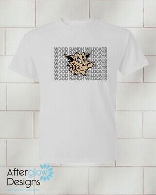 Wildcat Echo Design on Youth White 50/50 Tshirt