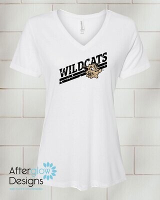 Wildcats Design on White Relaxed Vneck