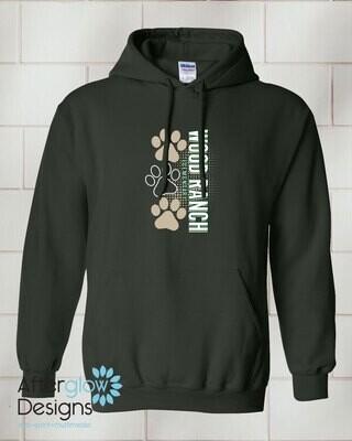 Paw Design on Adult Dark Green 50/50 Hoodie