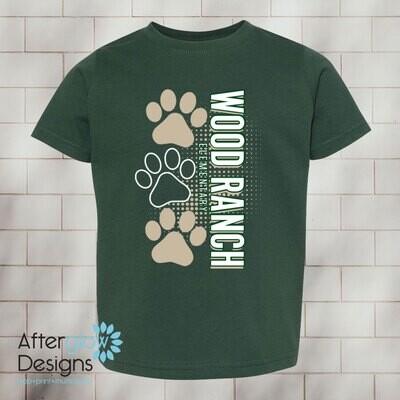 Paw Design on Dark Green Toddler Tshirt