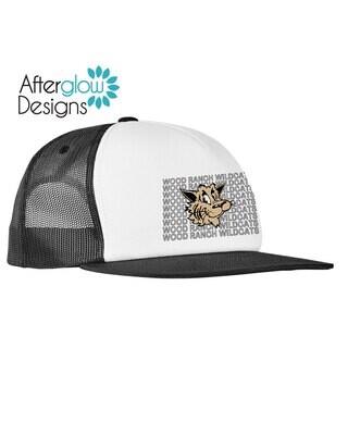 Wildcat Echo Design on Black and White Foam Trucker Hat