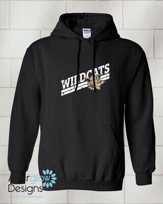 Wildcats Design on Adult Black 50/50 Hoodie