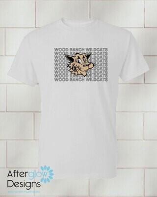 Wildcat Echo Design on Adult White 50/50 Tshirt