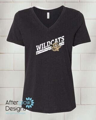 Wildcats Design on Black Relaxed Vneck