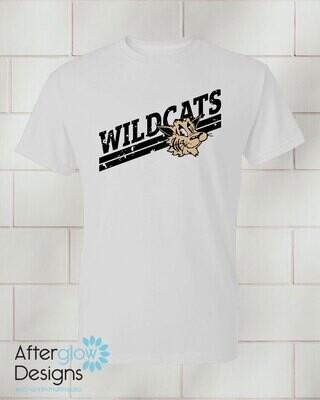 Wildcats Design on Adult White 50/50 Tshirt