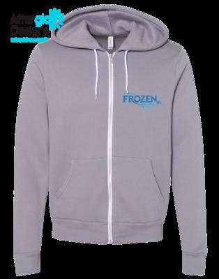 Frozen Design on Zip-up Grey Bella + Canvas Hoodie