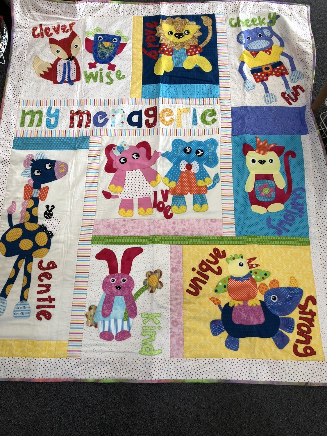 My Menagerie - Finished quilt