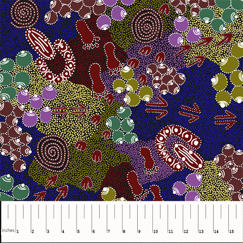 Bush Plum Dreaming by Juliette Nakamarra Morris (Blue)