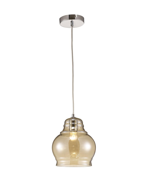 Ariel Single Large Pendant 1 Polished Chrome/Cognac Glass