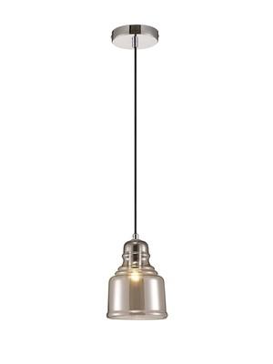 Ariel Single Bell Pendant 1 Light E27 Polished Chrome/Smoke Glass