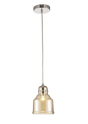 Ariel Single Bell Pendant 1 Light E27 Polished Chrome/Cognac Glass