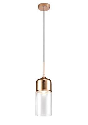 Mia Single Tube Pendant 1 Light E27 Bronze/Clear Glass